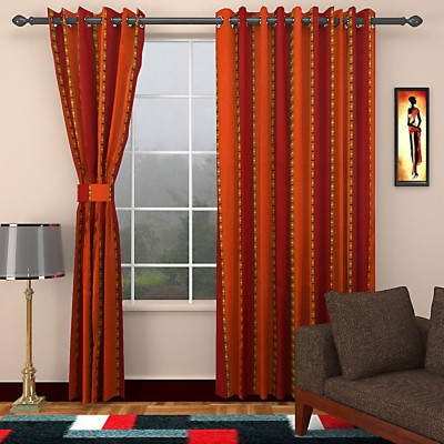 SEVEN STARS Cotton Red/Orange Striped Eyelet Window Curtain