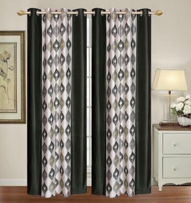 HomeTex Polycotton Dark Green Silver Printed Eyelet Long Door Curtain