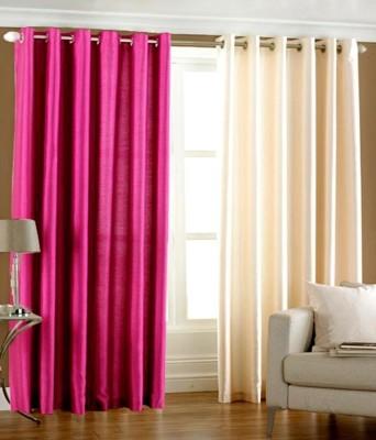 Hargunz Polyester Pink, Beige Floral Eyelet Window Curtain