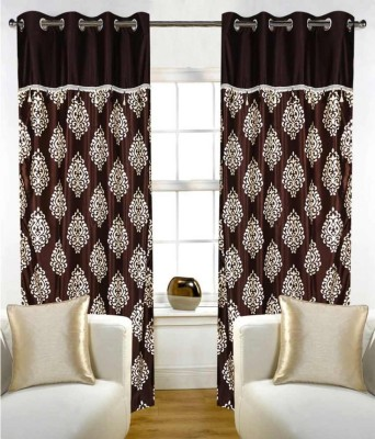 Jh Decore Polyester Brown Printed Eyelet Door Curtain