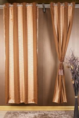 Homelife Jacquard Maroon, Orange Geometric Eyelet Window Curtain