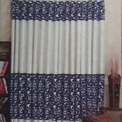 New Fabric Art Jacquard Blue Printed Eyelet Window Curtain