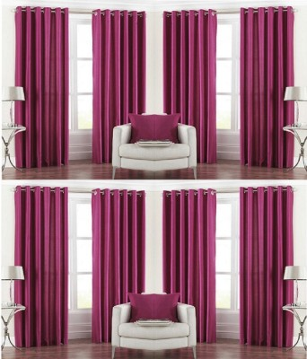 Galaxy Decorations Polyester Magenta Plain Eyelet Door Curtain