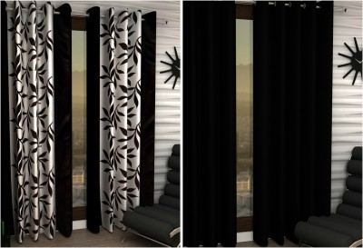 Home Fashion Gallery Polyester Multicolor Floral Eyelet Long Door Curtain