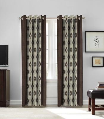 fflaunt Polyester COFFEE Printed Eyelet Long Door Curtain