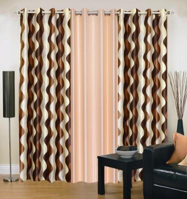 Brand Decor Polyester Brown, Beige Geometric Eyelet Window Curtain