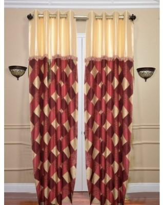 Handloomhub Polyester Maroon Checkered Eyelet Door Curtain