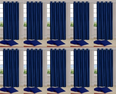 Handloom Hut Polyester Blue Solid Eyelet Window Curtain