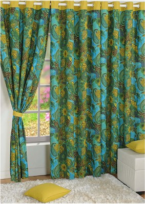 Swayam Cotton Purple, Green Motif Ring Rod Door Curtain