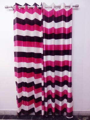K Gallery Polyester Pink Striped Eyelet Door Curtain