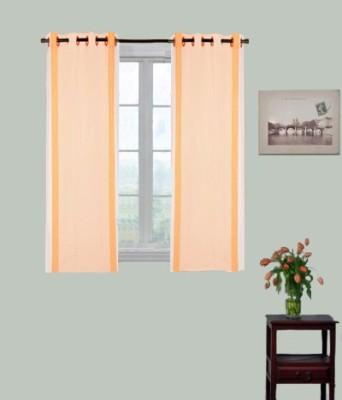 Kings Polycotton Orange Striped Eyelet Window Curtain