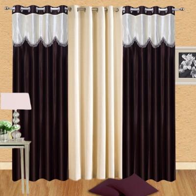 Swastik Polyester Multicolor Plain Eyelet Long Door Curtain