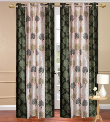 Daddyhomes Polyester Green Floral Curtain Door Curtain