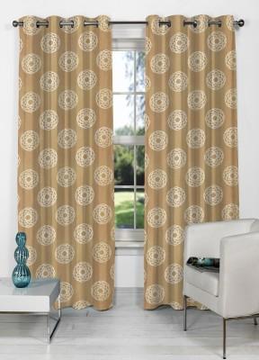 NuHome Decor Polyester Brown Abstract Eyelet Long Door Curtain