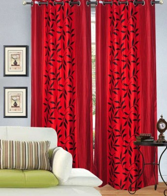 Madhav Product Polyester Red Floral Eyelet Door Curtain
