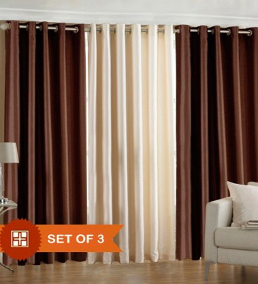 XEEKART Polyester Brown, Cream Plain Eyelet Long Door Curtain