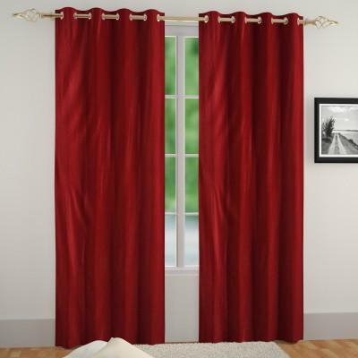 Muren Polyester Maroon Self Design Eyelet Door Curtain