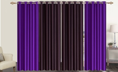 Furnishing Zone Polyester Brown, Purple Plain Eyelet Long Door Curtain