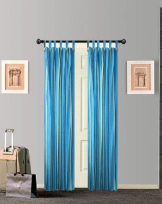 Tidy Cotton Blue Striped Tab Top Door Curtain
