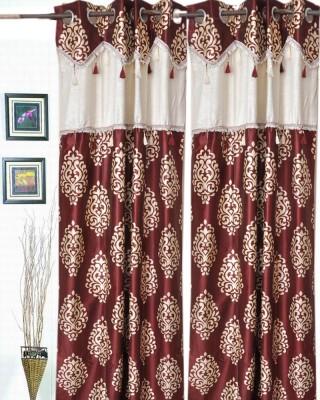 Madhav Product Polyester Mehroon Motif Eyelet Door Curtain