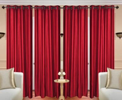 Handloom Hut Polyester Plain Crush Maroon Doon Solid Eyelet Long Door Curtain