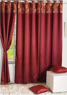 Swayam Silk Brown Abstract Eyelet Door Curtain