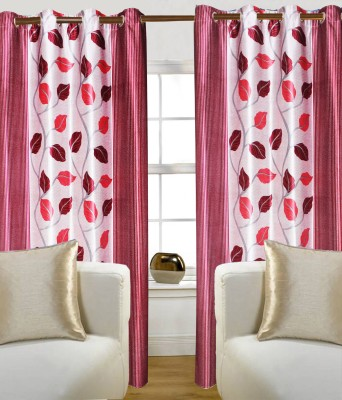 Madavs Polyester Red Floral Eyelet Door Curtain