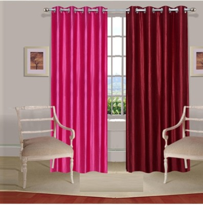 Fogg Polyester Pink, Red Solid Tab Top Door Curtain