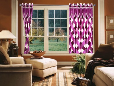 OsianArts Purple Self Design Eyelet Door Curtain