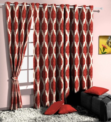 Curtainman Polyester Red Motif Eyelet Door Curtain
