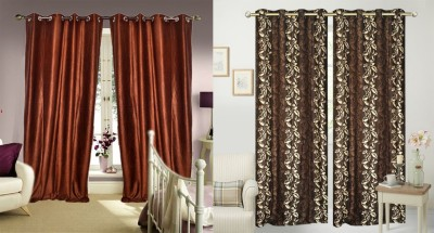 JBG Home Store Polyester Multicolor Floral Eyelet Long Door Curtain