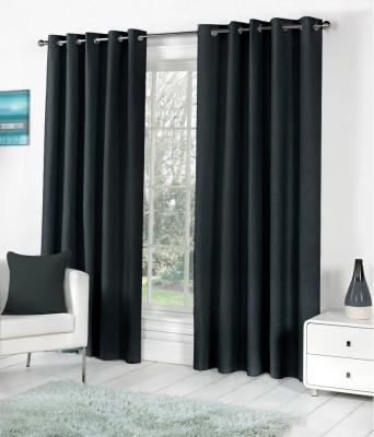 Ech Oly Polyester Black Plain Eyelet Long Door Curtain