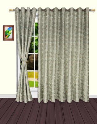 S9home by Seasons Polyester Green Striped Eyelet Door Curtain