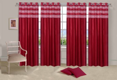 Ville Style Polyester Red Solid Eyelet Door Curtain