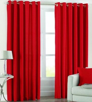 SWHF Cotton Red, Maroon Solid Eyelet Door Curtain