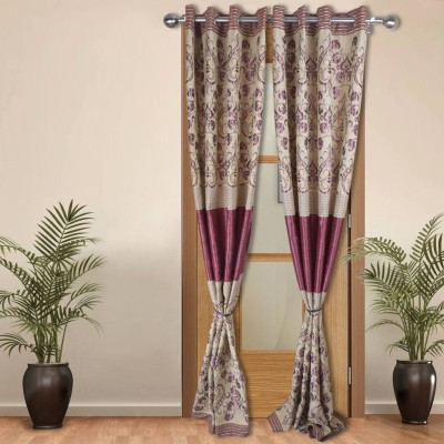 Shoppeholics Silk Multicolor Self Design Eyelet Door Curtain