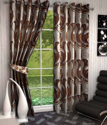 Divine Polyester Brown Floral Eyelet Window Curtain