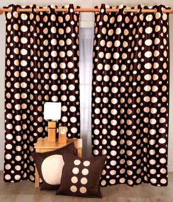Madhav Product Polyester Brown Floral Eyelet Door Curtain