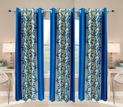 White Wave Polyester Printed Skyblue Solid Tab Top Door Curtain