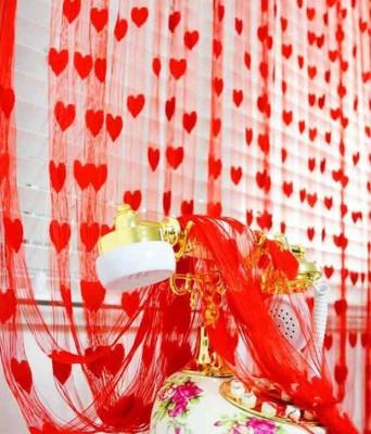 Sawdeshi Polyester Red Self Design Rod pocket Window & Door Curtain