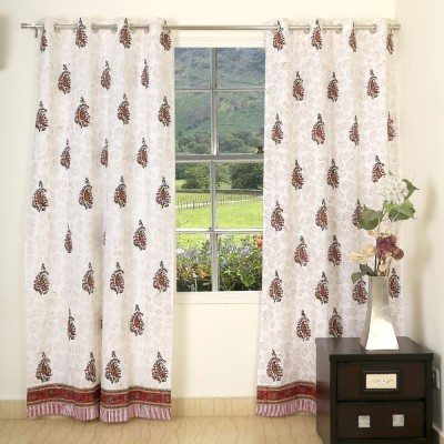 Ethnic Rajasthan Cotton WHITE-RED Paisley Ring Rod Window Curtain