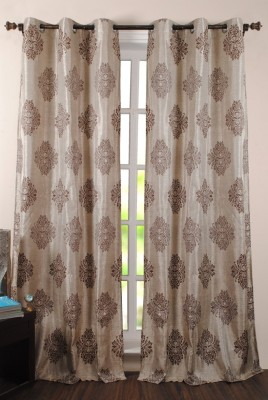 Deco Window Polyester Grey Motif Eyelet Window Curtain