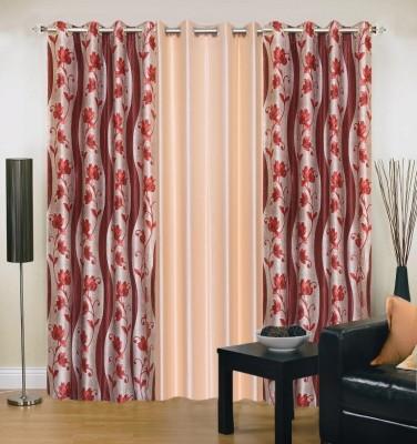 New Trends Polyester Maroon, Beige Printed Eyelet Door Curtain