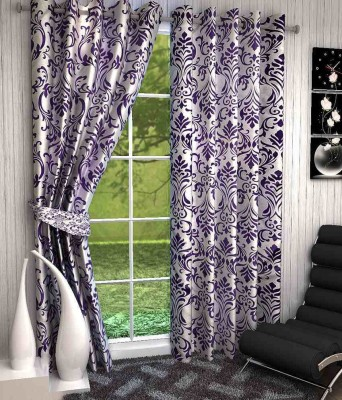 Click Weaves Polyester Multicolour Floral Eyelet Long Door Curtain