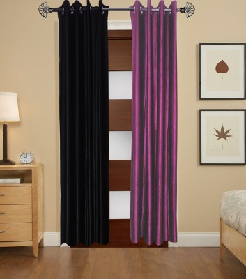 Home Fashion Gallery Polyester Black, Purple Plain Eyelet Door Curtain