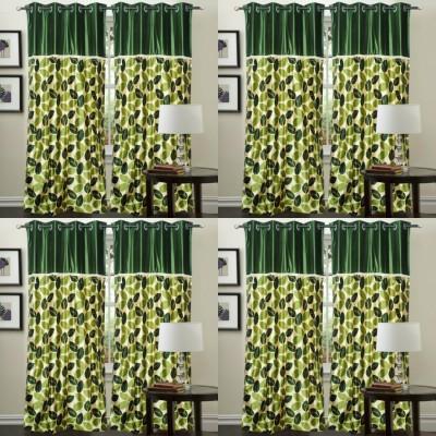 Decor Vatika Polyester Green Abstract Eyelet Door Curtain