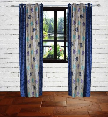 Gaurav Curtains Polyester Blue Floral Eyelet Door Curtain