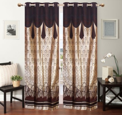 VEENA FABS Polycotton Brown Printed Eyelet Window & Door Curtain