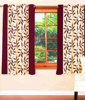 Home Fashion Gallery Polyester Maroon Floral Eyelet Door Curtain