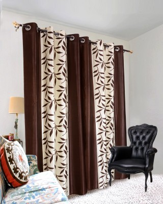 Jds Polyester Brown Floral Ring Rod Door Curtain